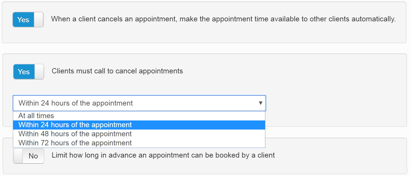 The settings allowing a professional to avoid last minute cancellations