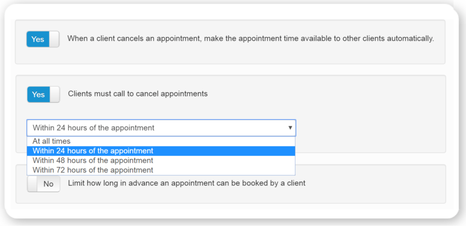 The settings allowing to customize cancellation management
