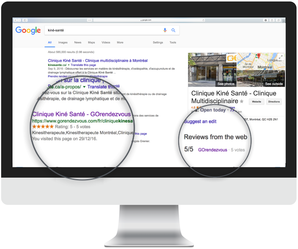 A computer displaying a google search with the professional's page and ratings magnified