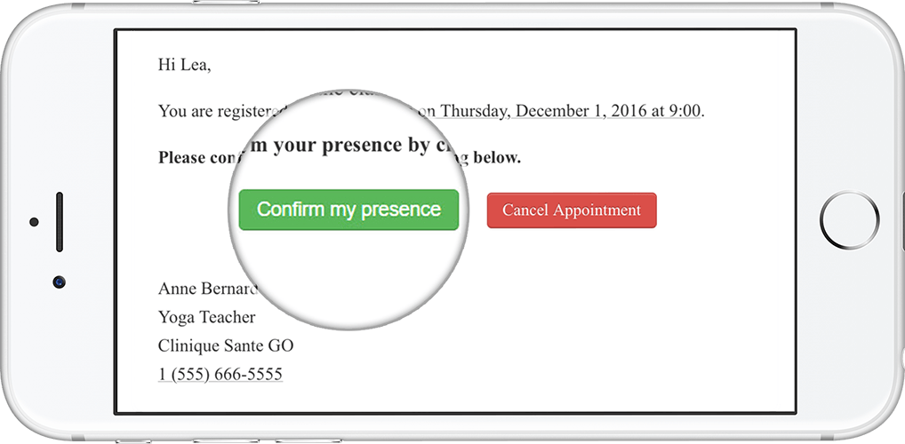 A phone showing an email reminder with a magnified 'confirm my presence' button