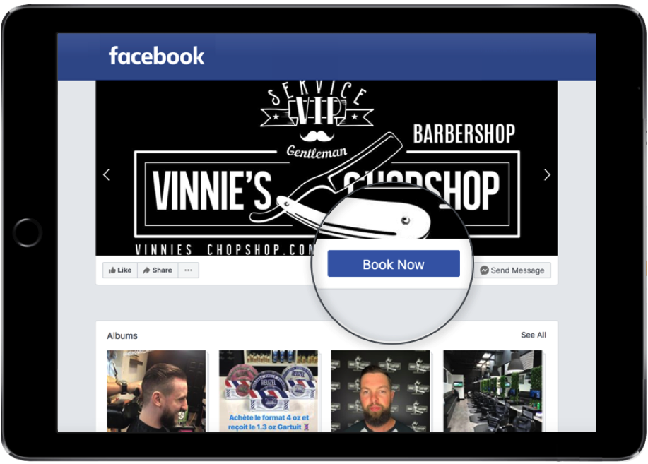 An ipad showing Vinnie's Chopshop's facebook page where the GOrendezvous booking button is magnified