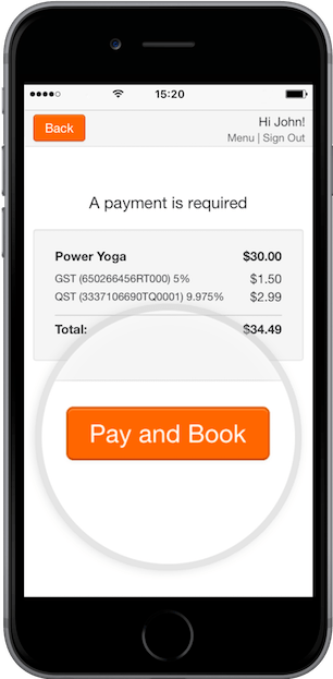 A phone displaying the payment window where the 'Pay and Book' button is magnified