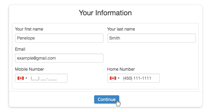 The passwordless client sign up form comprised of the client's first and last name, email, mobile number and phone number