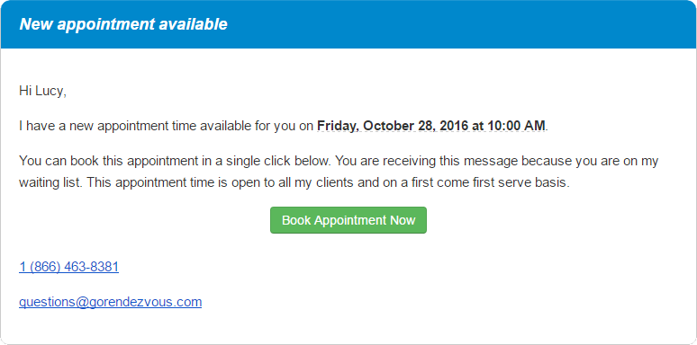An email offering an appointment to a client on the waiting list