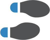 Icon of two grey footsteps with blue heels