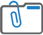 Icon of a grey folder with a blue paperclip