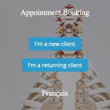 GOrendezvous booking appointment window for a chiropractor