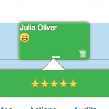 5 star rating from Julia Olivia as seen on a professional's GOrendezvous' schedule