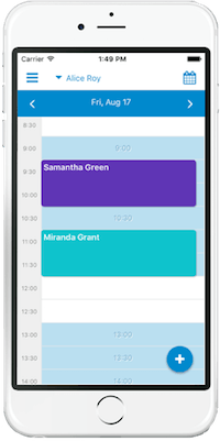 A professional's GOrendezvous schedule as seen on the mobile app